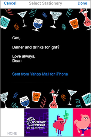 Image of an example of station in Yahoo Mail for iOS.